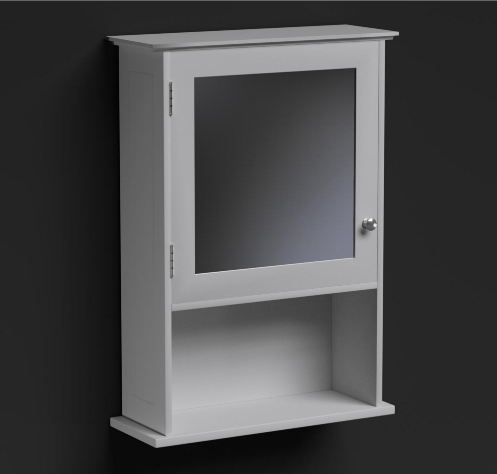 Richmond mirrored bathroom shaving cabinet glenross for Mirrored bathroom floor cabinet